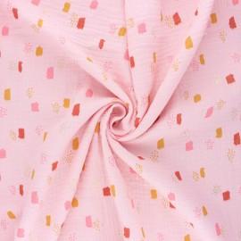 Poppy double gauze fabric - light pink Funny shapes x 10cm