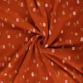 Poppy double gauze fabric - rust Funny shapes x 10cm