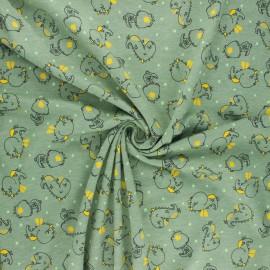 Tissu jersey Poppy Dino - vert sauge x 10cm