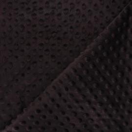 Dotted minkee velvet fabric - dark brown Eva x 10cm