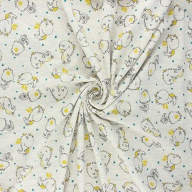 Tissu jersey Poppy Dino - écru chiné x 10cm