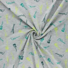 Tissu jersey Poppy You rock! - gris clair chiné x 10cm