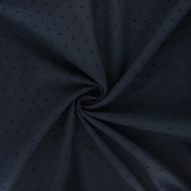 Plumetis cotton voile fabric - navy blue Aéria x 10cm