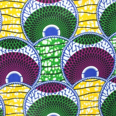 Wax print fabric - green Huambo x 10cm