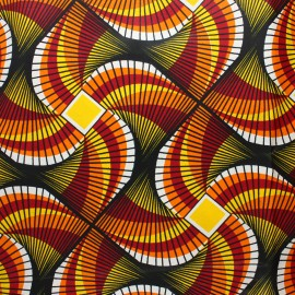 Wax print fabric - orange Kuito x 10cm