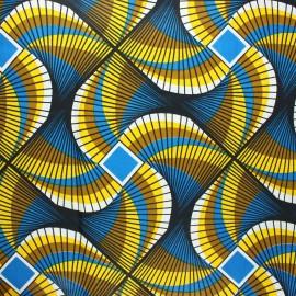 Tissu wax Kuito - bleu x 10cm
