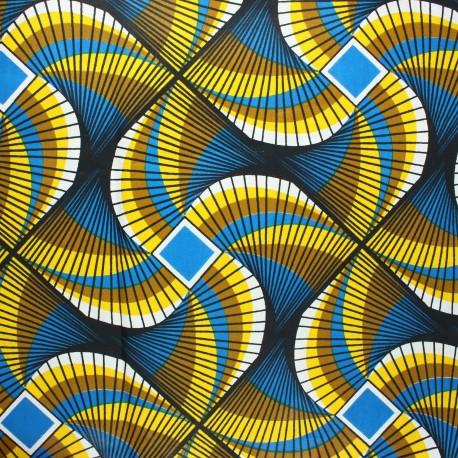 Wax print fabric - blue Kuito x 10cm
