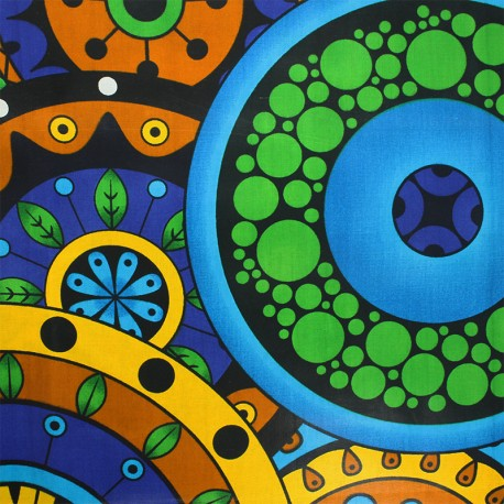 Wax print fabric - blue Mucari x 10cm