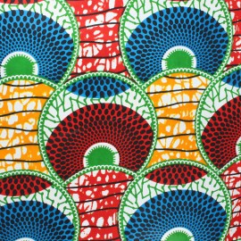 Wax print fabric - red Huambo x 10cm
