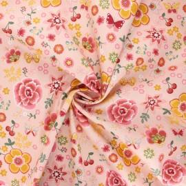 Poppy poplin cotton fabric - pink Happy flowers x 10cm
