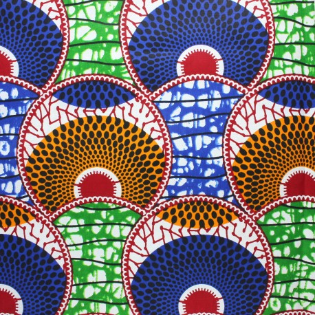 Wax print fabric - blue Huambo x 10cm