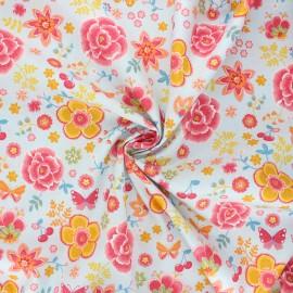 Poppy poplin cotton fabric - light blue Happy flowers x 10cm