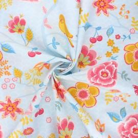 Poppy poplin cotton fabric - light blue Happy feelings x 10cm