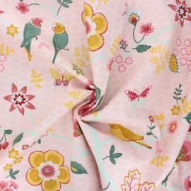 Poppy poplin cotton fabric - pink Happy feelings x 10cm