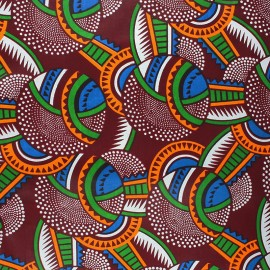 Wax print fabric - burgundy Malanje x 10cm