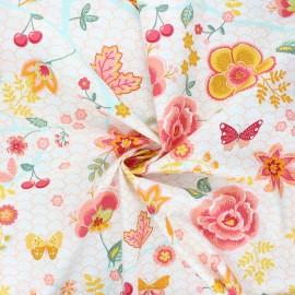 Poppy poplin cotton fabric - white Happy feelings x 10cm