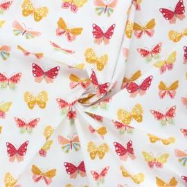 Poppy poplin cotton fabric - white Butterflies love flowers x 10cm