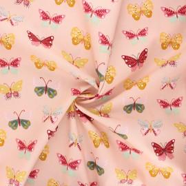 Poppy poplin cotton fabric - pink Butterflies love flowers x 10cm