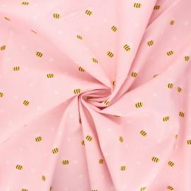 Poppy poplin cotton fabric - pink Bee with flowers x 10cm