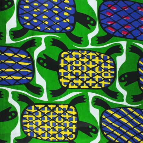 Wax print fabric - green Luena x 10cm