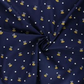 Tissu coton popeline Poppy Bee with flowers - bleu marine x 10cm