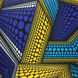 Tissu wax Dundo - bleu x 10cm