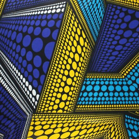 Wax print fabric - blue Dundo x 10cm