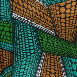 Tissu wax Dundo - vert x 10cm