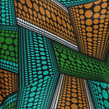 Wax print fabric - green Dundo x 10cm