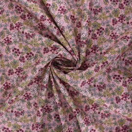 Poppy poplin cotton fabric - pink I smell the spring x 10cm