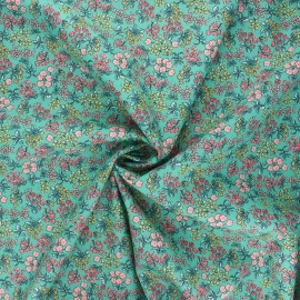 Poppy poplin cotton fabric - green I smell the spring x 10cm