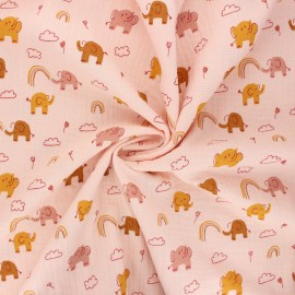 Poppy double gauze fabric - blush pink Sweet elephants x 10cm