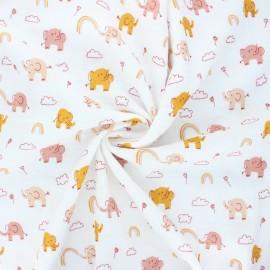 Poppy double gauze fabric - white Sweet elephants x 10cm
