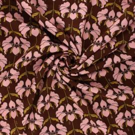 Lurex viscose fabric by Penelope® - brown Brunelle x 10cm