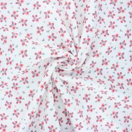 Poppy double gauze fabric - white Sweet flowers x 10cm