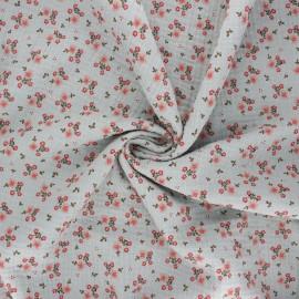 Poppy double gauze fabric - sage green Sweet flowers x 10cm