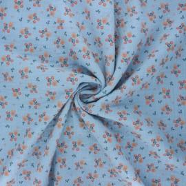 Poppy double gauze fabric - blue Sweet flowers x 10cm
