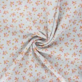 Poppy double gauze fabric - pearl grey Sweet flowers x 10cm