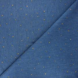 Tissu coton chambray Drop - bleu x 10cm