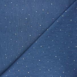 Chambray denim fabric - silver Drop x 10cm