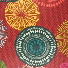 Tissu coton enduit Capacha - rouge x 10cm
