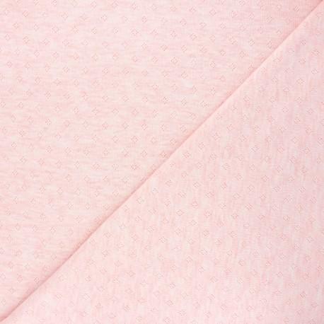 Tissu jersey maille ajourée Diamond - rose clair chiné x 10cm