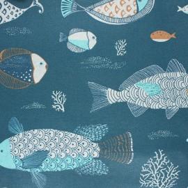 Coated cotton fabric - blue Limande x 10cm