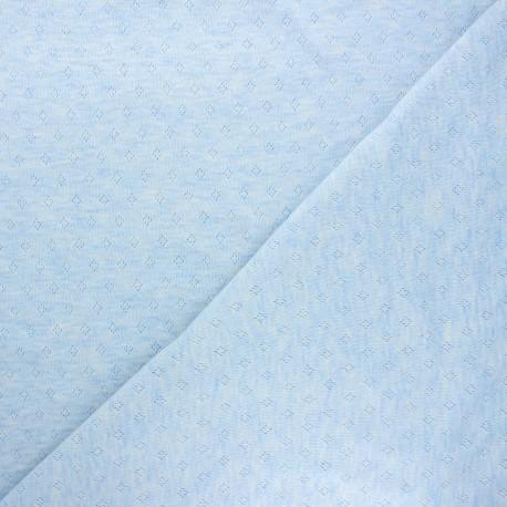 Openwork jersey fabric - mottled light blue Diamond x 10cm