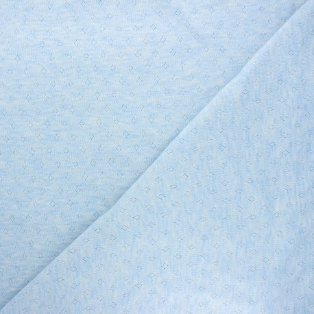 Tissu jersey maille ajourée Diamond - bleu clair chiné x 10cm