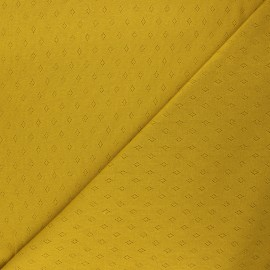 Openwork jersey fabric - curry yellow Diamond x 10cm