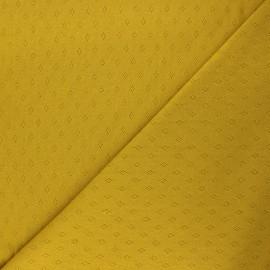 Tissu jersey maille ajourée Diamond - jaune curry x 10cm
