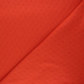 Tissu jersey maille ajourée Diamond - carotte x 10cm
