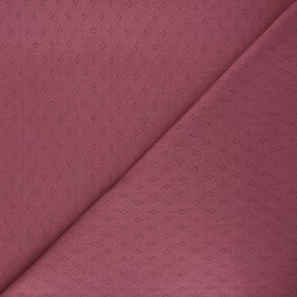 Tissu jersey maille ajourée Diamond - figue x 10cm