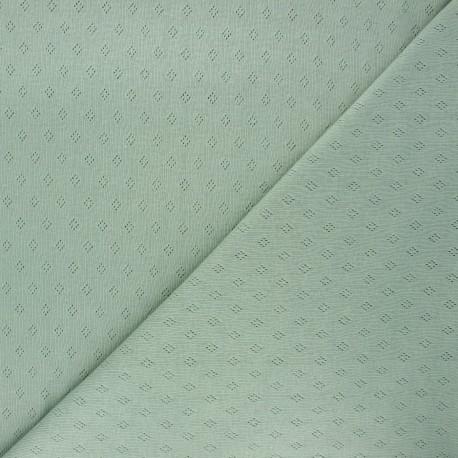 Tissu jersey maille ajourée Diamond - eucalyptus x 10cm